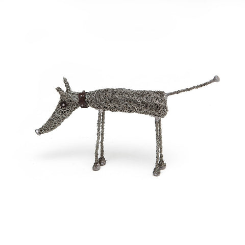 Knitted Wire Standing Dog Sculpture by Sarah Jane Brown