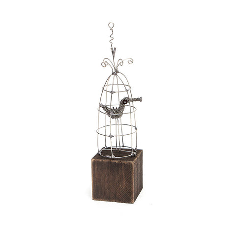 Metal Birdcage Sculpture in Wood and Metal by Sarah Jane Brown