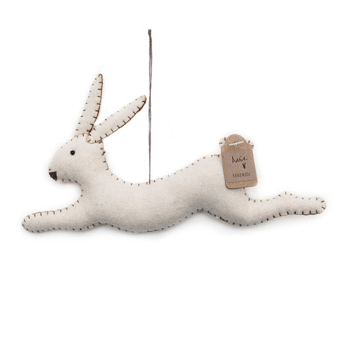 East of India Cream Felt Annie the Hare Hanging Decoration