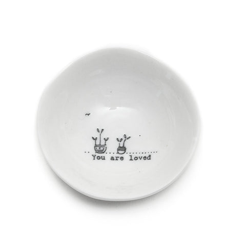 East of India Glazed Small Porcelain 'You are Loved' Dish