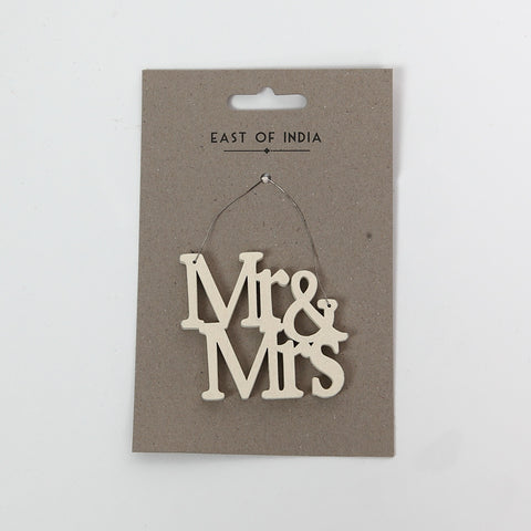 East of India Wooden Mr & Mrs Sign