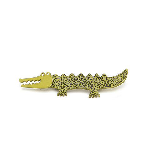 Lene Lundberg K-Form Green Crocodile Brooch