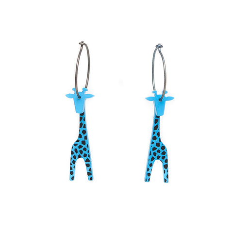 Lene Lundberg K-Form Turquoise Giraffe Earrings with Black Markings