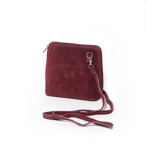 Genuine Suede Small Shoulder Bag in Berry Red
