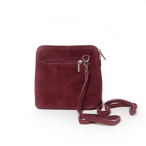Genuine Suede Small Shoulder Bag in Burgundy