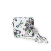 Genuine Leather Small Shoulder Bag in White with Dragonfly and Floral Motif