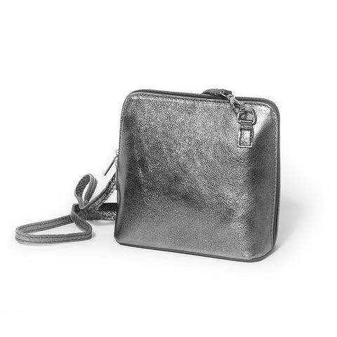 Genuine Leather Small Shoulder Bag in Metallic Pewter