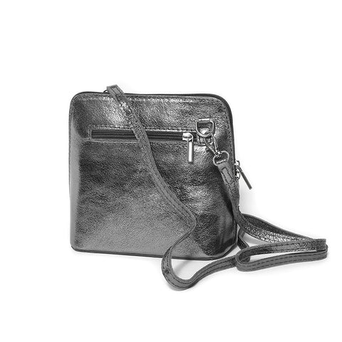 Genuine Leather Small Shoulder Bag in Silver Grey