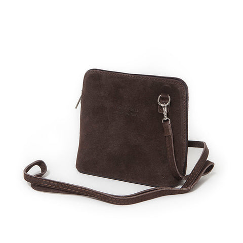 Genuine Suede Small Shoulder Bag in Chocolate