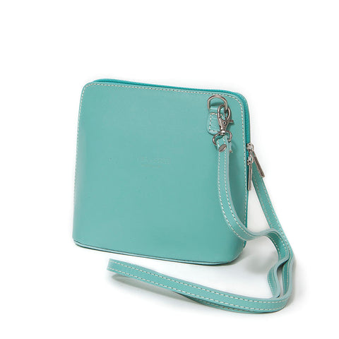 Genuine Leather Small Shoulder Bag in Aqua