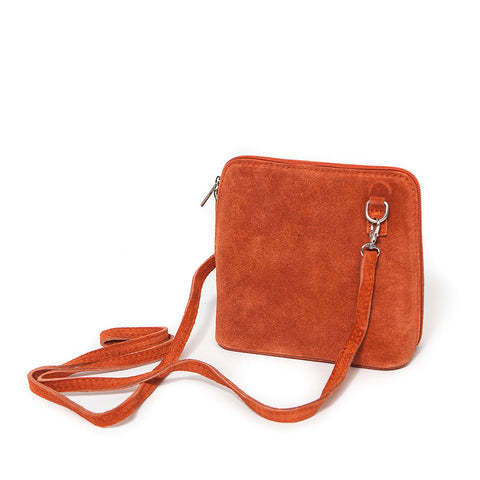 Genuine Suede Small Shoulder Bag in Burnt Orange