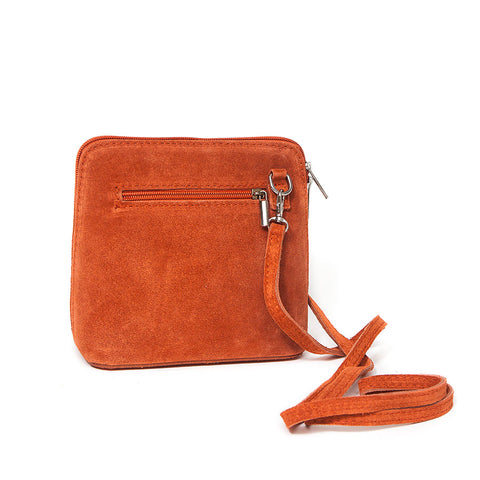Genuine Suede Small Shoulder Bag in Paprika