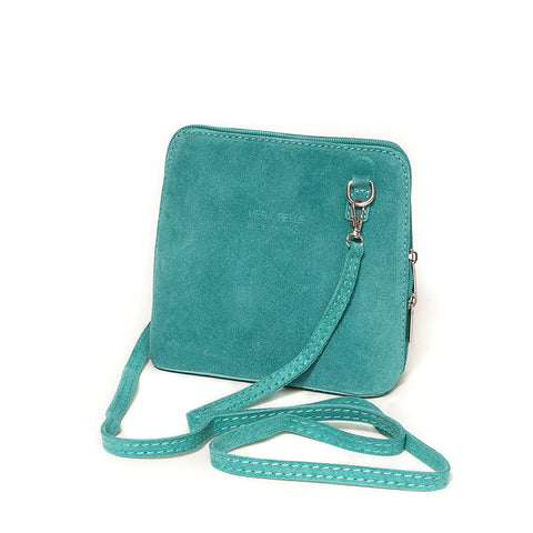 Genuine Suede Small Shoulder Bag in Turquoise
