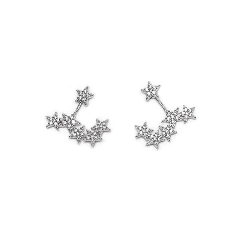 Crystal Star Stud Earrings with Back Story of Stars