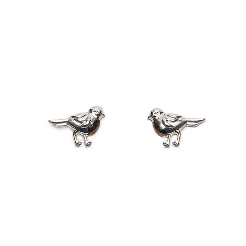 Silver and Rose Gold Finish Robin Stud Earrings