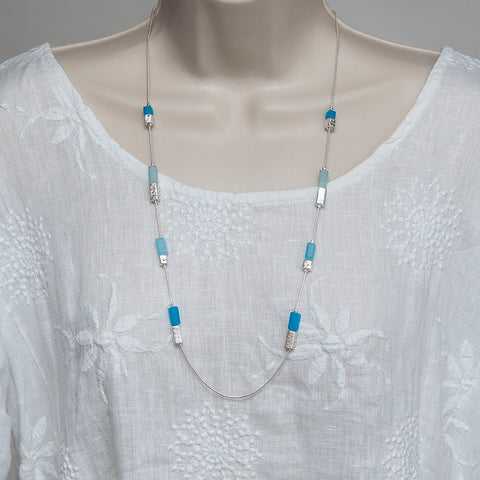 Long Silver-Finish Adjustable Necklace with Turquoise/Silver Beads