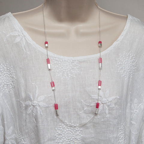 Long Silver Finish Adjustable Necklace with Pink/Silver Beads
