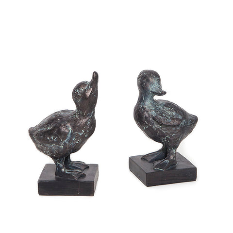 Set of Two Gosling Sculptures with Verdigris Finish from Libra