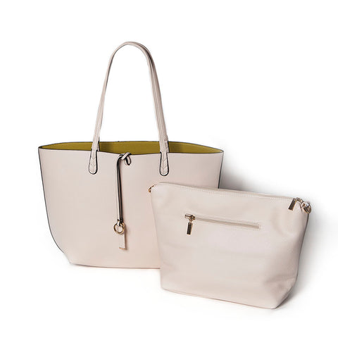Cream/Chartreuse Reversible Shopper with Handbag