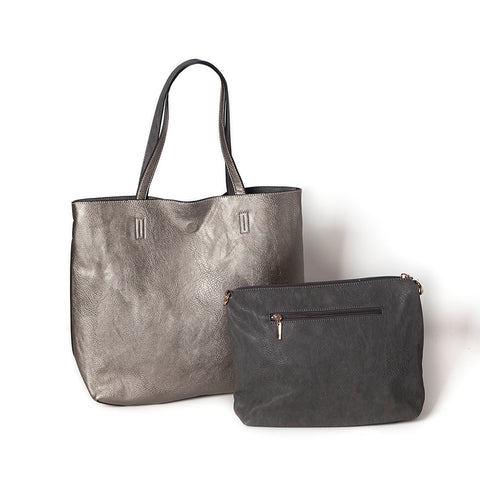 Large Shopper with Handbag in Pewter and Dark Grey