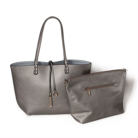 Dark Silver/Light Silver Reversible Shopper with Handbag