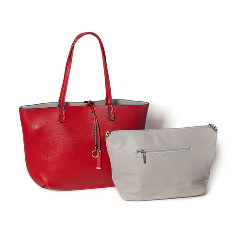 Red/Grey Reversible Shopper with Handbag