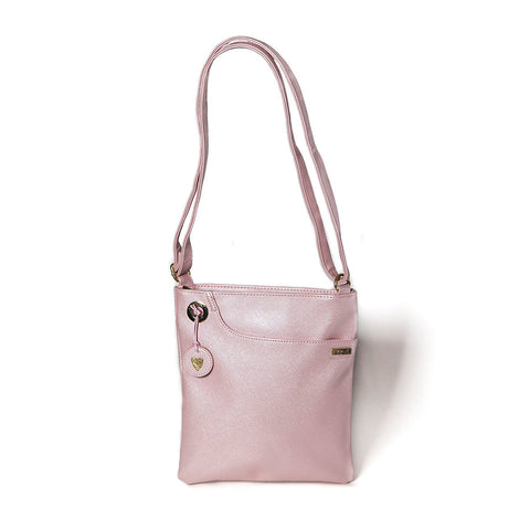 Shruti Metallic Pink PU Leather Shoulder Bag