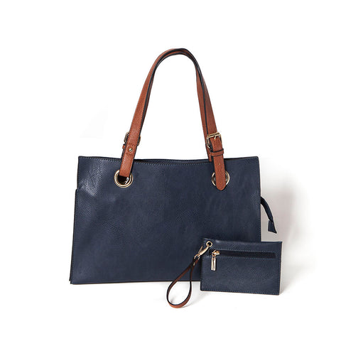 Navy Wide Shopper Style Bag from Long & Sons