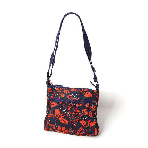Shruti  Cross-Body Bag with Tiger Lily Design by Lisa Buckridge
