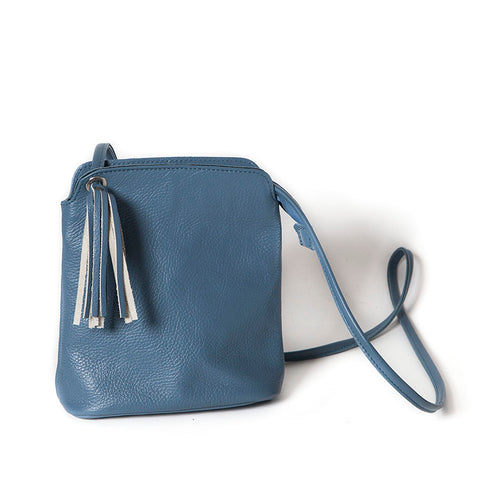 Small Italian Cross Body Blue Soft Leather Handbag with Adjustable Strap