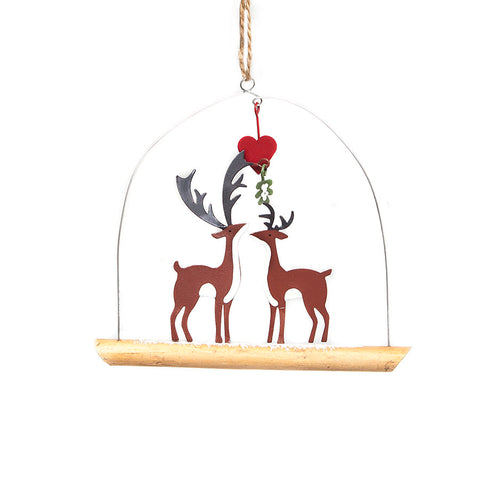 Shoeless Joe Kiss Me Deer on Twig Hanging Christmas Decoration