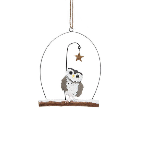 Shoeless Joe Owl and Star Hanging Decoration