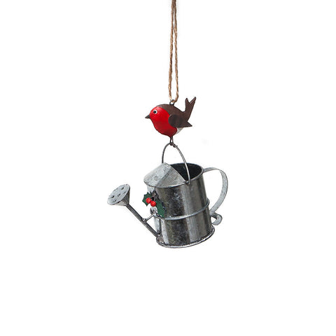 Shoeless Joe Watering Can with Robin Hanging Decoration