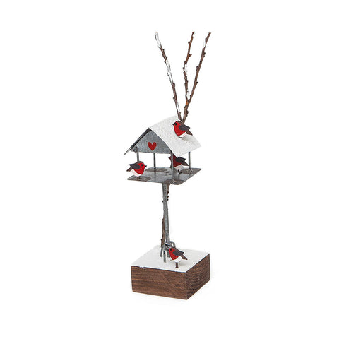 Shoeless Joe Bird Table with Robins Christmas Decoration