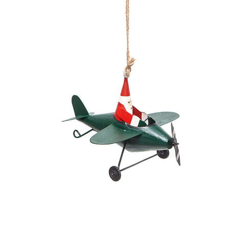 Shoeless Joe Flying Santa in Green Plane Hanging Christmas Decoration