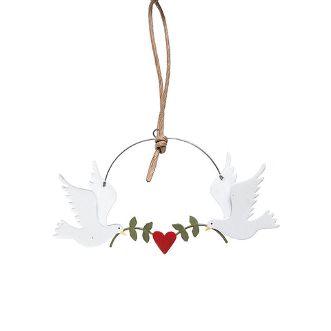 Shoeless Joe Doves with Green Olive Branches Hanging Christmas Decoration