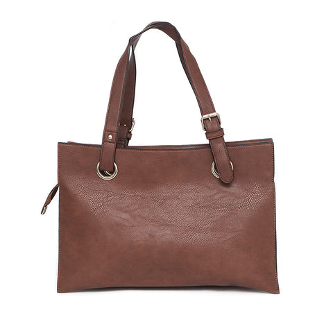 Brown Wide Shopper Style Bag from long and sons