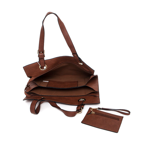 Brown Wide Shopper Style Bag from long and sons interior view with matching purse
