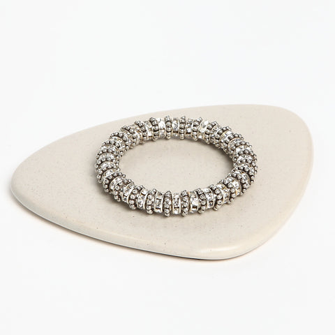 Stretch Crystal Silver-Finish Bracelet