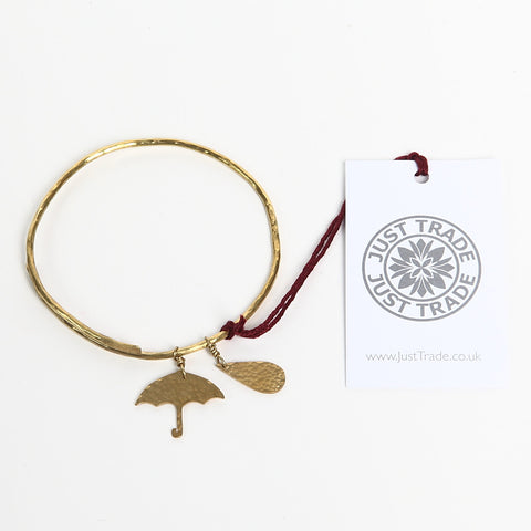 Just Trade Brass Bangle with Umbrella and Raindrop Charms