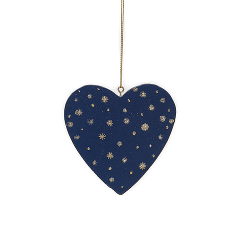 Gisela Graham Wooden Hanging Heart Christmas Decoration in blue with snowflake pattern
