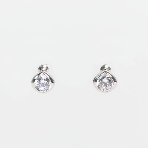 Large Cushion Crystal Silver-Finish Stud Earrings