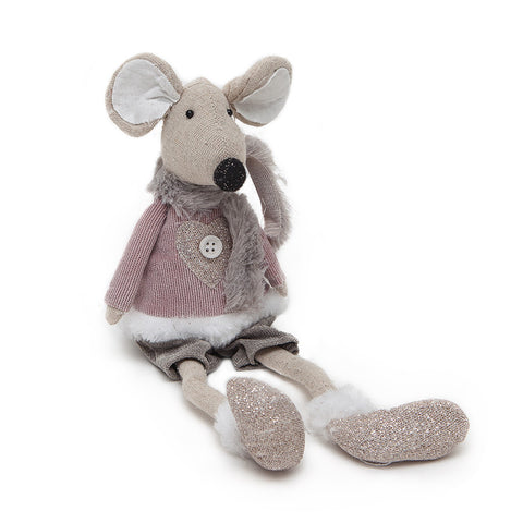 Heaven Sends Fabric Pink/Grey Boy Mouse