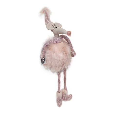 Heaven Sends Fabric Fluffy Hanging Pink Mouse