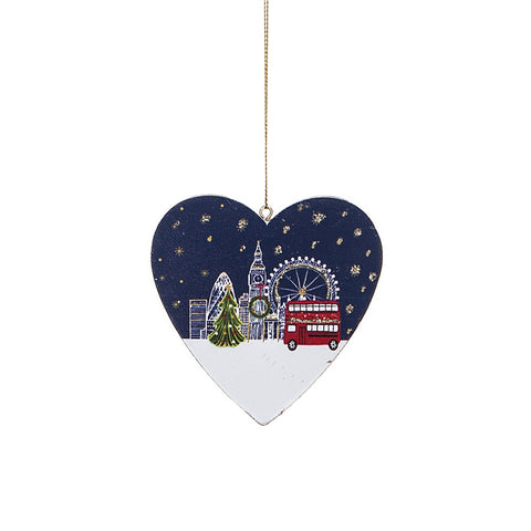 Gisela Graham Wooden Hanging Heart Christmas Decoration with London Snowy scene