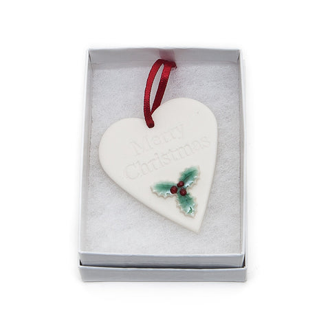 Angel Ceramics Matt Heart with Hand-Painted Holly Hanging Decoration