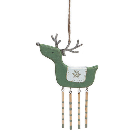 Heaven Sends Pale Green Wooden Deer Decoration with Dangly Legs