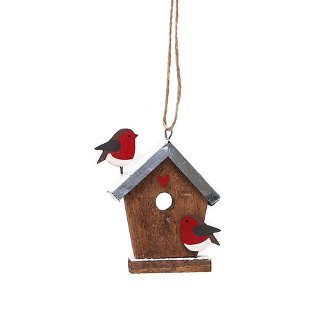 Shoeless Joe Birdhouse with Robins Hanging Decoration