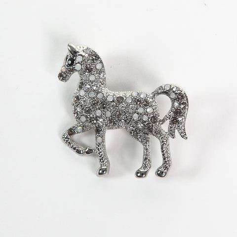 Sparkly AB and Clear Crystal Horse Brooch
