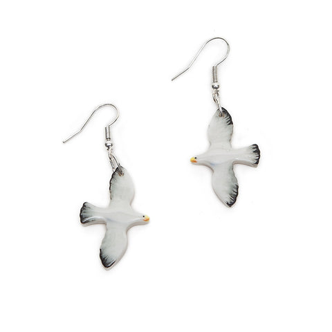 Angel Ceramics Small Glazed Ceramic Seagull Earrings
